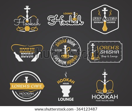 Hookah labels, badges and design elements set. Vintage monochrome shisha logo, yellow palette. Lounge cafe emblems.  Arabian bar or house, shop. Isolated vector illustration. - stock vector