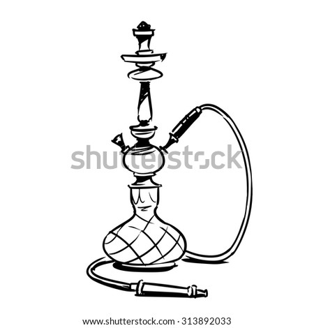 hookah. sketch illustration - stock vector