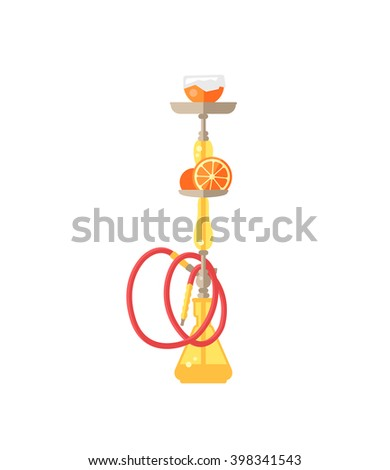 Hookah tobacco arabic tube and relaxation turkish hookah traditional symbol. Colorful modern smoke hookah flat vector illustration isolated on white background.  - stock vector
