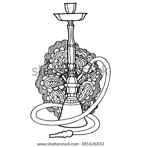 Hookah with abstract ornament on background, decorative contour, outline drawing. - stock vector