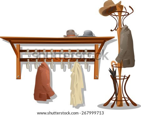 hooks with clothes in dressing room - stock vector