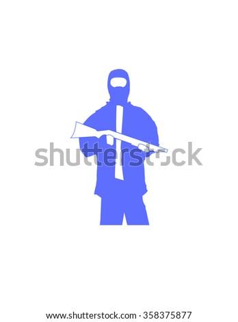 Hooligan Shotgun Person Man Gun - stock vector