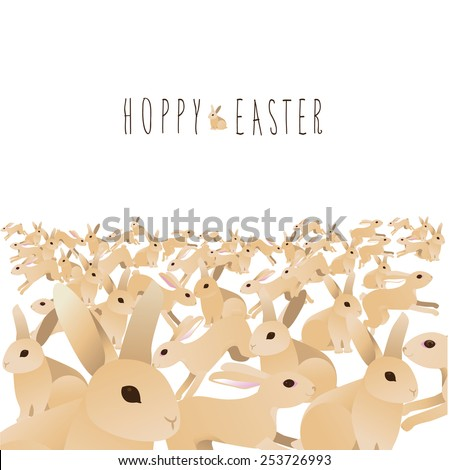 Hoppy Easter sea of cute bunnies with skinny hand drawn message. EPS 10 Vector royalty free stock illustration for greeting card, ad, marketing, poster, design, blog, article, invitation, social media - stock vector
