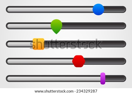 Horizontal adjust bar, slider templates with different knobs. - stock vector