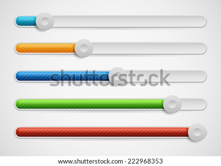 Horizontal adjusters, sliders with knobs. Multicolor modern UI elements - easy to edit - stock vector
