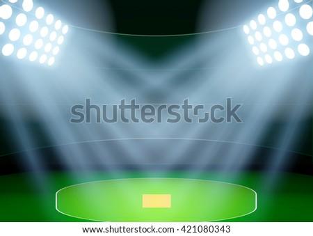 Horizontal Background for posters night cricket stadium in the spotlight. Editable Vector Illustration. - stock vector