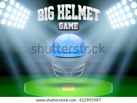 Horizontal Background for posters night cricket stadium with cricket helmet in the spotlight. Editable Vector Illustration. - stock vector
