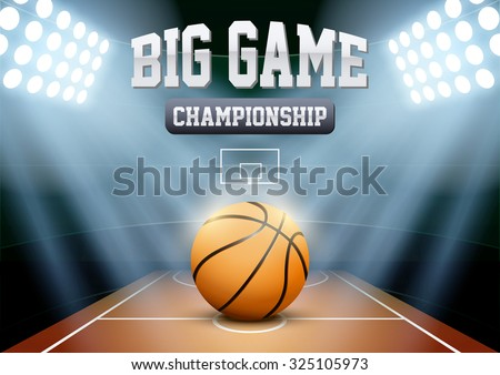 Horizontal Background night basketball stadium in the spotlight with big ball. Editable Vector Illustration. - stock vector