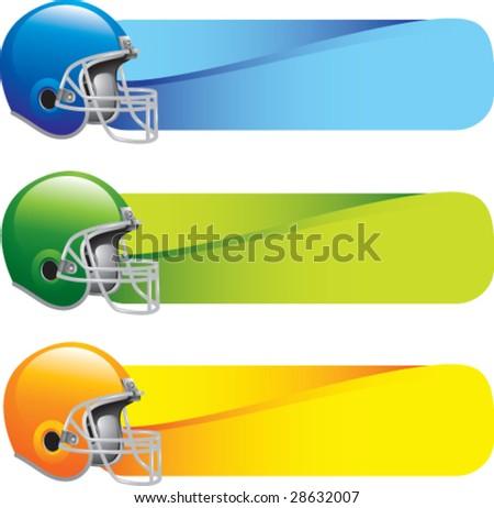 horizontal banner football helmets - stock vector