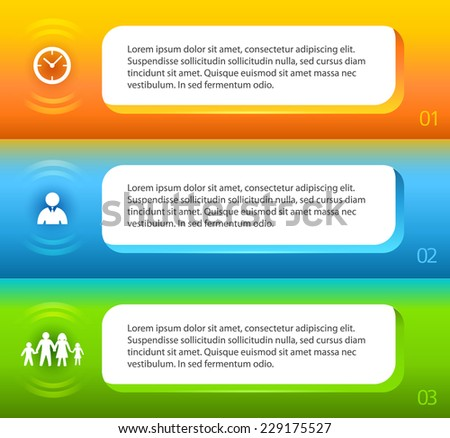 Horizontal banner layout with space place for your text on blue green orange background. Vector illustration EPS 10 for info-graphic web banner / presentation template / new product newsletters - stock vector