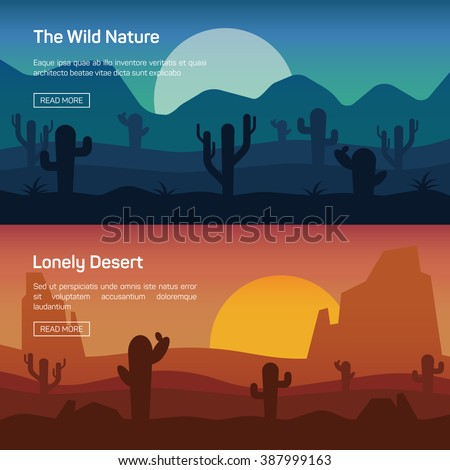 Horizontal banner set with lonely desert and wild nature isolated vector illustration - stock vector