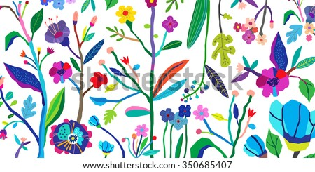 Horizontal banner with beautiful flowers. Vector floral header and creative background. Design for poster, card, invitation, placard, brochure, flyer. Isolated - stock vector