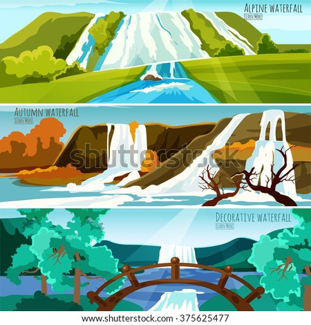Horizontal banners collection with colorful pictures of waterfall landscapes in mountains flat vector illustration   - stock vector