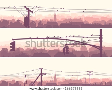 Horizontal banners of old historic European city with birds on power line in pale pink tone. - stock vector
