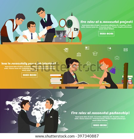 horizontal banners on the theme: business, partnerships, teamwork, work process, start-up, management, start-up projects, strategy and planning, job interview, recruitment. vector illustration. - stock vector