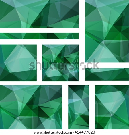 Horizontal banners set with polygonal triangles. Polygon background, vector illustration. Green color.  - stock vector