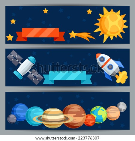 Horizontal banners with solar system and planets. - stock vector