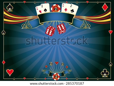 Horizontal blue Casino. A casino horizontal background for your pad or your screen - stock vector