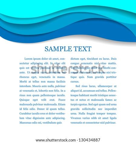 Horizontal blue frame for a text - stock vector