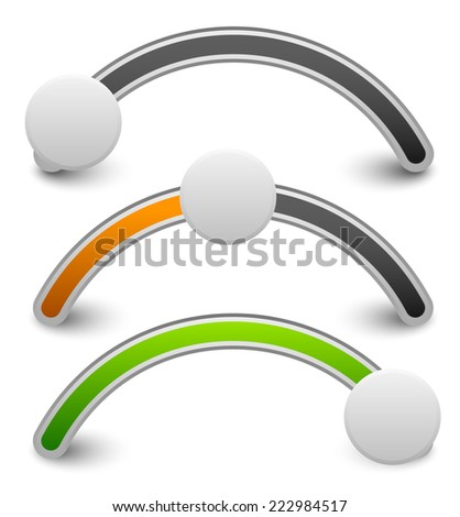 Horizontal buttons, sliders or adjuster. Adjust opacity mask to set level - stock vector