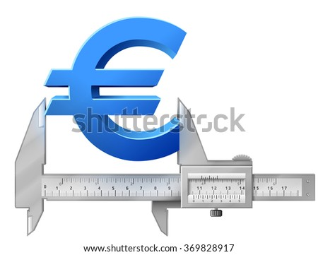 Horizontal caliper measures euro symbol. Concept of measuring size of money sign. Qualitative vector illustration for banking, financial industry, economy, accounting, etc - stock vector