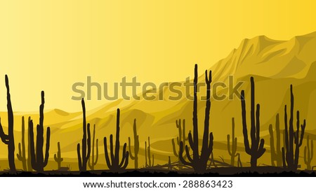 Horizontal cartoon illustration of valley with cacti and mountains in background in yellow tone. - stock vector