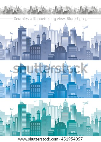 Horizontal cityscape with airplanes, abstract vector illustration. City view with urban elements - office buildings, shopping center,  skyscrapers and other houses. Seamless pattern, white background - stock vector