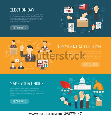 Horizontal color banner depicting steps of american presidential elections isolated vector illustration - stock vector