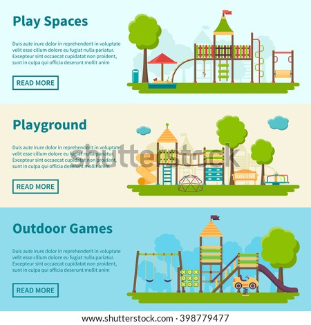 Horizontal color banners with title and information field about playgrounds for outdoor games vector illustration - stock vector