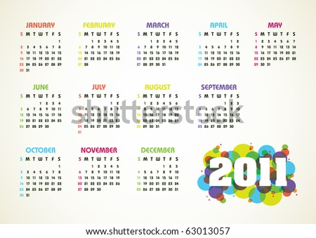 Horizontal color vector calendar for 2011 year - stock vector