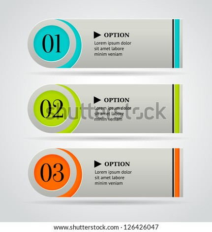 Horizontal colorful options banner template. Vector illustration - stock vector