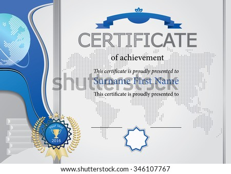 Horizontal education certificate. Grey certificate with blue design elements - stock vector