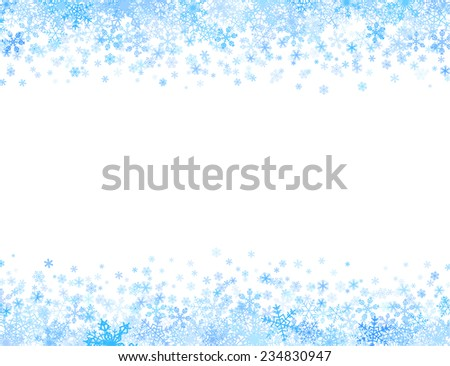 Horizontal frame with different small snowflakes on top and bottom - stock vector
