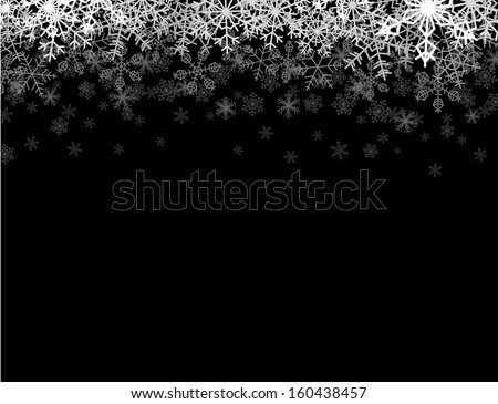 Horizontal frame with snowflakes falling down into darkness - stock vector