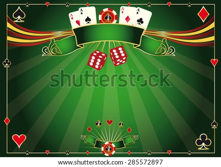Horizontal green Casino background. A casino horizontal background for your poker tour - stock vector