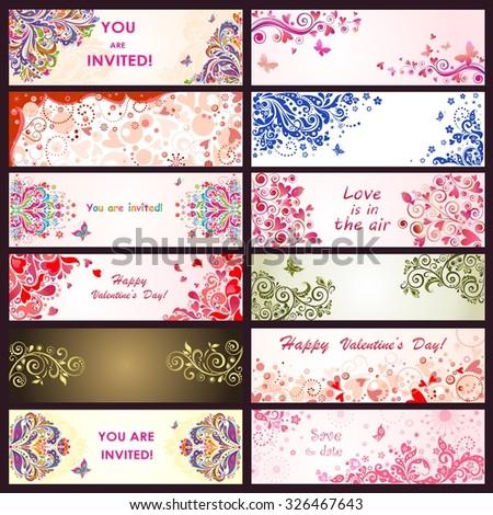 Horizontal greeting decorative banners - stock vector