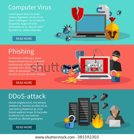 Horizontal  hacker banners set with icons of DDOS attacks on computer systems  phishing and computer viruses vector illustration - stock vector