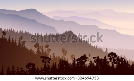 Horizontal illustration morning misty coniferous forest hills in purple tone. - stock vector