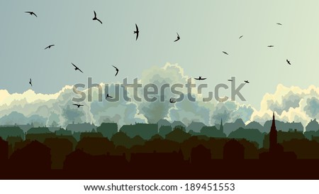 Horizontal illustration old historic European city on background of cloudy sky. - stock vector