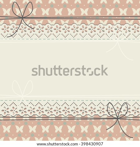 Horizontal lace frame with flowers, butterflies and polka dots can be used for wedding invitation,  baby shower, birthday greeting card and more designs. - stock vector