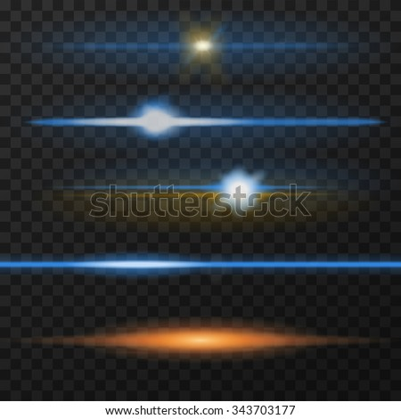 Horizontal lens flares pack. Horizontal light rays. Vector, eps10. Blue and orange - stock vector