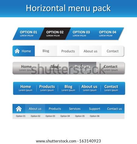 Horizontal menu pack - vector design - website elements / template - blue color - stock vector