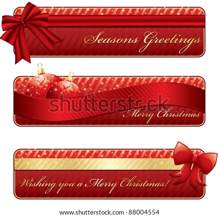 horizontal red and gold banners with seasonal messages - stock vector