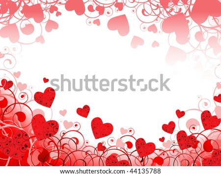 horizontal red heart frame with swirls and copyspace for your text - stock vector