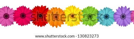 Horizontal seamless background with colored gerbera. Vector illustration. - stock vector