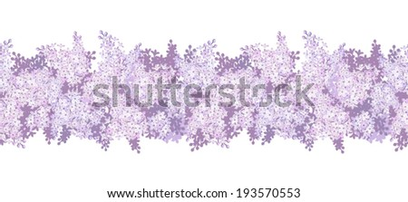 Horizontal seamless background with lilac flowers. Vector illustration. - stock vector