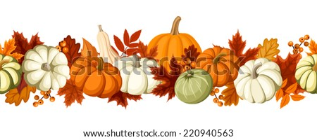 Horizontal seamless background with pumpkins and autumn leaves. Vector illustration. - stock vector