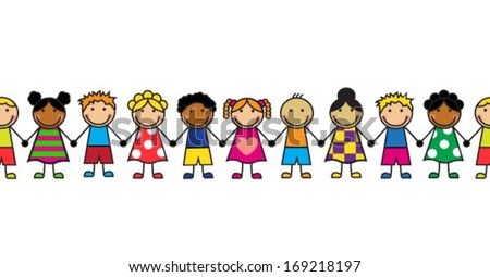 horizontal seamless Cartoon children standing in a row on a white background - stock vector