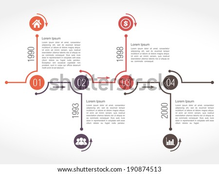 Horizontal timeline design template with numbers, icons, dates and place for text, vector eps10 illustration - stock vector