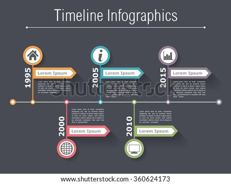 Horizontal timeline infographics design template with arrows, vector eps10 illustration - stock vector